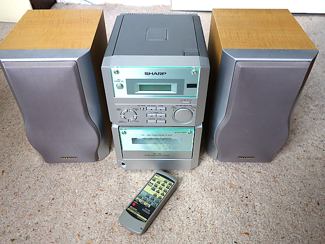 For Sale - SHARP 'BOOKSHELF' STEREO SYSTEM WITH REMOTE CONTROL